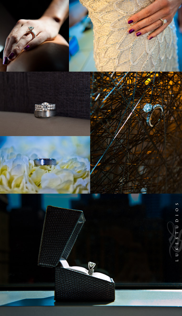 Featured portraits of the rings of the bride and groom