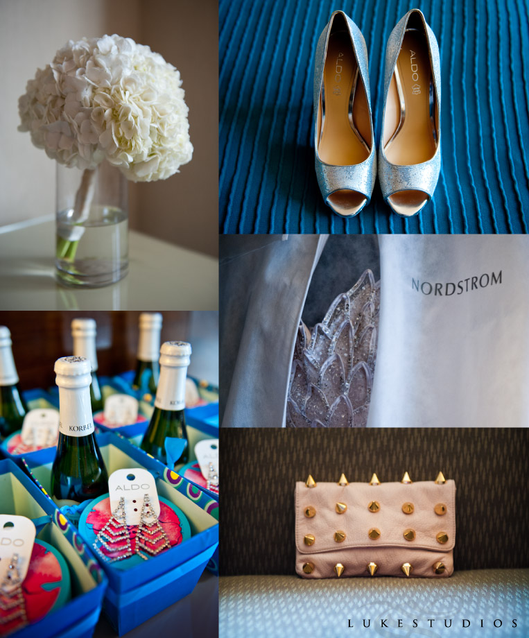 Detail photo of shoes, bridesmaid decor and flowers