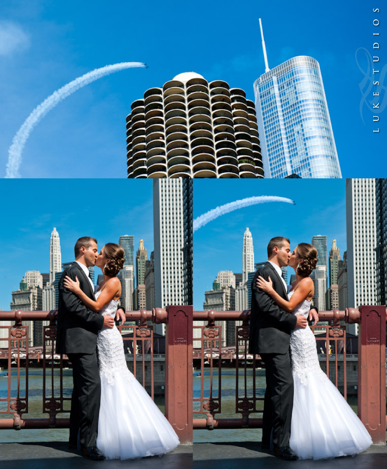 Wedding Portraits on the Chicago skyline