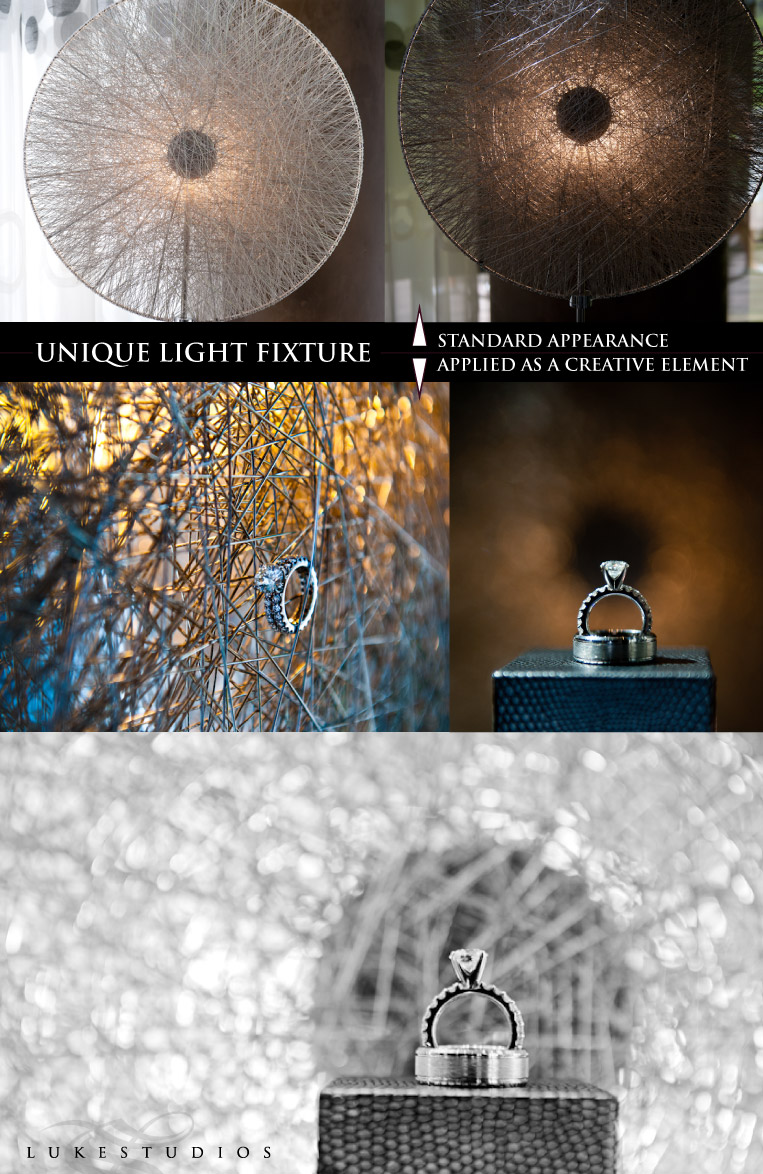 Light fixture as a background for wedding ring portraits