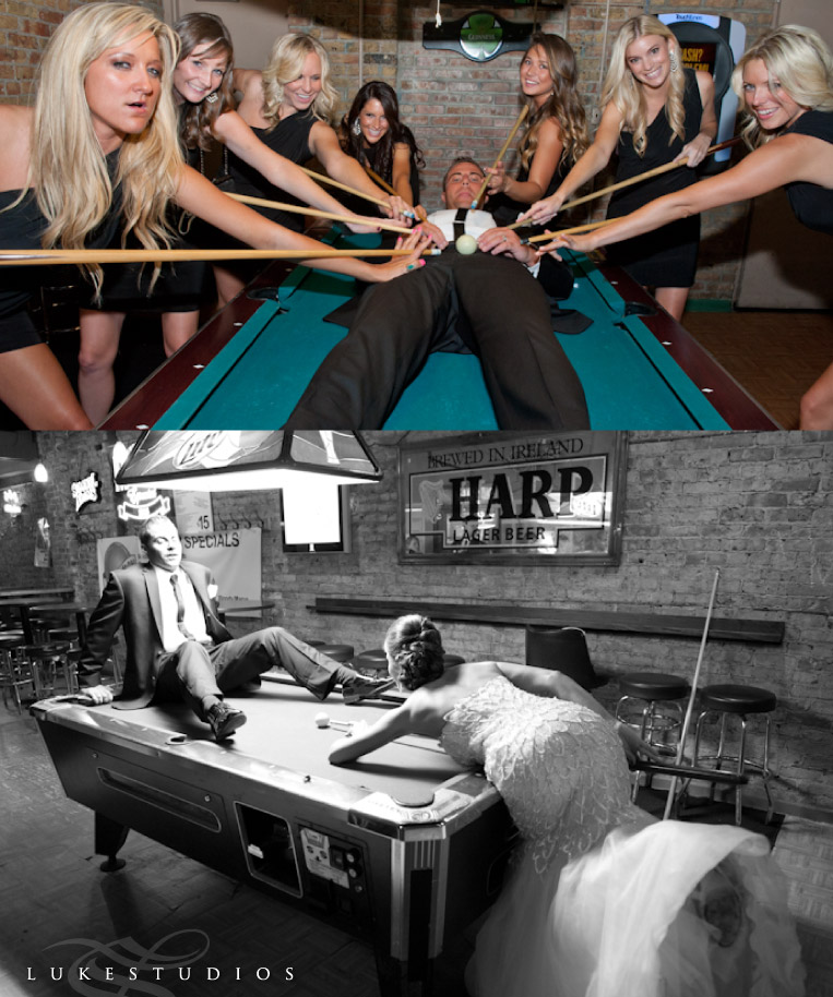 Funny wedding photos of a groom on a pool table