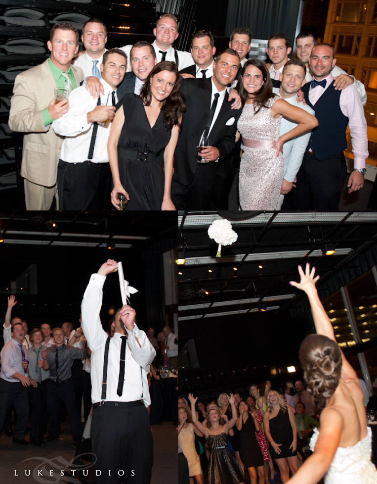 Photos of the bouquet toss and garter belt fling