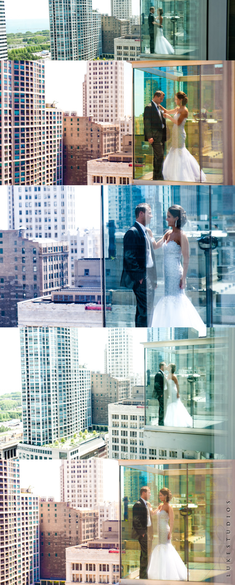 Wedding pictures on the rooftop of theWit in Chicago
