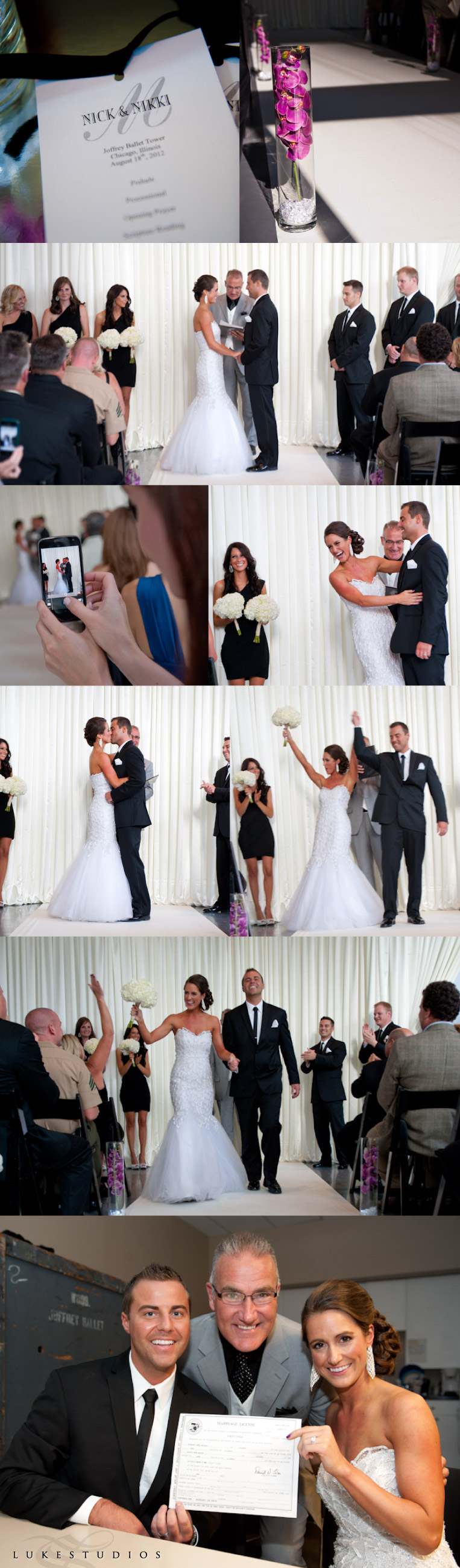 Highlights of a wedding ceremony at the Joffrey Ballet