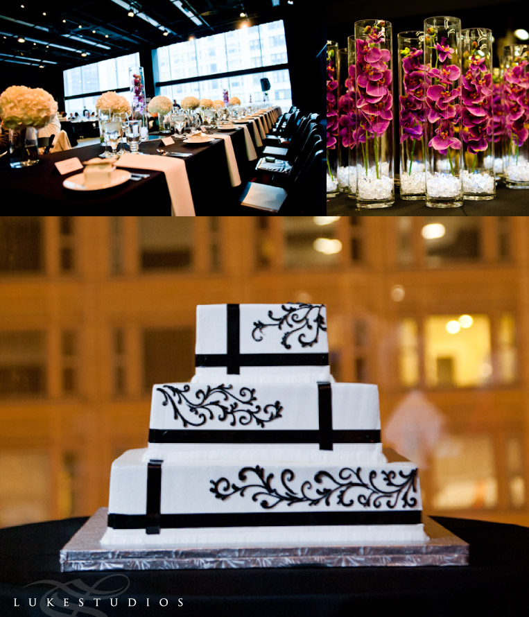 Wedding decor and cake in the Joffret ballet venue