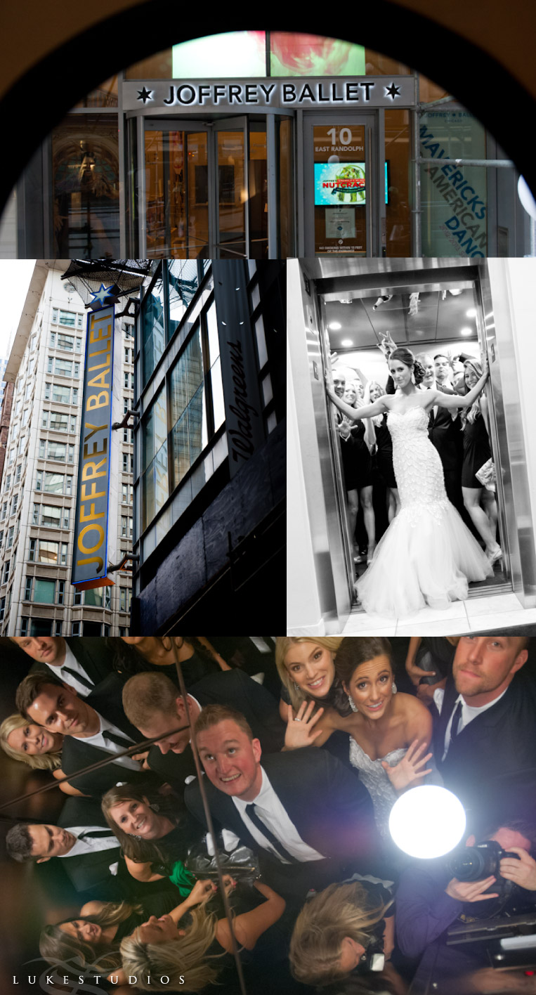 Wedding Party in the elevator at the Joffrey Ballet