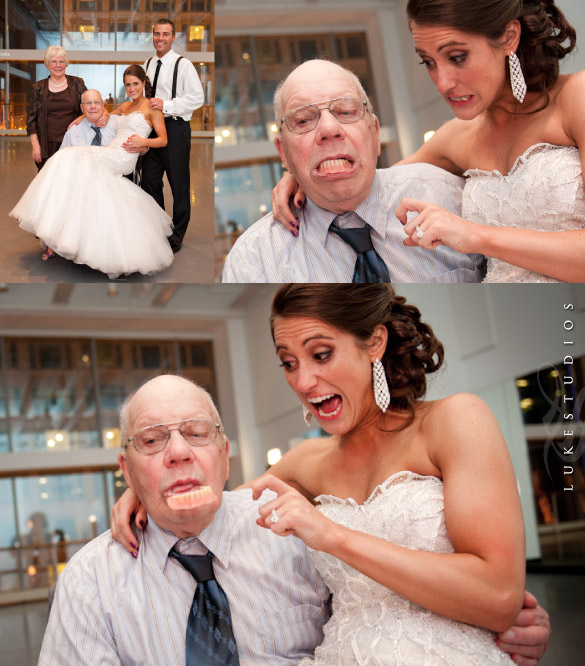 Funny Wedding Picture of bride and Grandpa's Dentures
