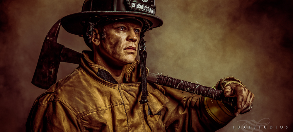 Portraits of a Firefighter that are unique by www.LukeStudios.com